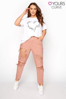 Yours Pink Extreme Distressed Mom Jean