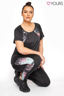 Yours Black Active Printed Panel Legging