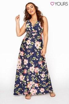 Yours Blue Floral Border Maxi Dress