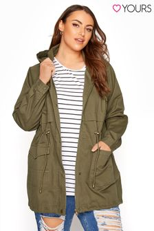 Yours Green Washed Cotton Parka