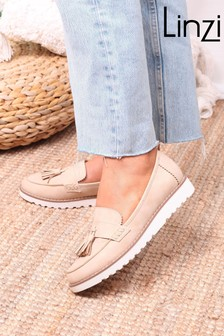 Linzi Nude Vicky Classic Slip On Loafer With Tassel Detail