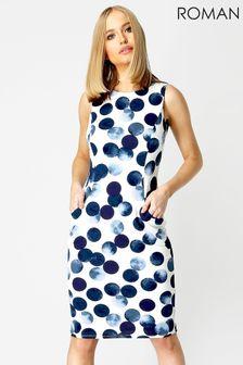 Roman White Spot Print Dress With Pockets