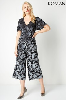 Roman Grey Velvet Floral Burnout Jumpsuit