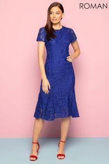 Roman Blue Flute Hem Lace Midi Dress