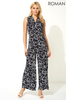 Roman Navy Nautical Rope Print Jumpsuit