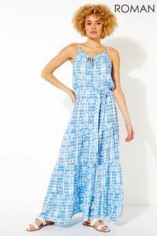 Roman Blue Tie Dye Tiered Maxi Dress