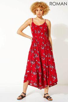 Roman Red Strappy Shirred Floral Midi Dress