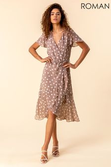 Roman Brown Frilled Hem Spot Print Dress