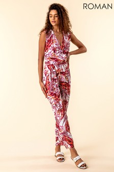 Roman Burgundy Tropical Print Jumpsuit