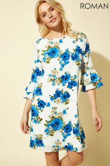 Roman White Floral Print Shift Dress
