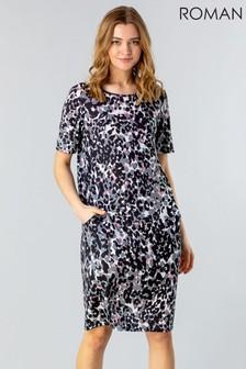 Roman Grey Animal Print Pocket Dress