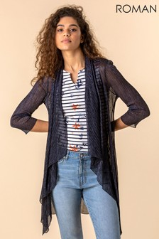 Roman Navy Waterfall Plisse Cover Up Cardigan
