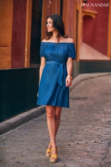 Sosandar Indigo Bardot Dress With Pockets