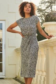 Sosandar navy Animal Print Premium Jersey Midi Dress