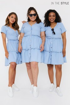 In The Style Blue Jac Jossa Chambray Frill Dress