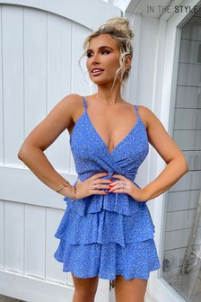In The Style Blue Billie Faiers Floral Tiered Wrap Dress