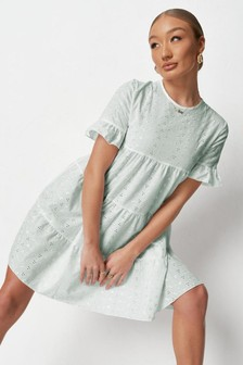 Missguided Blue Frill Sleeve Broderie Smock Dress