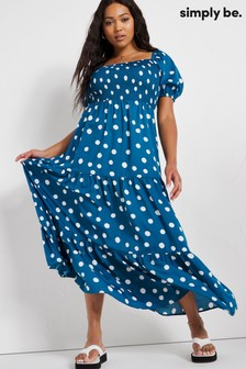 Simply Be Blue Shirred Tiered Maxi Dress