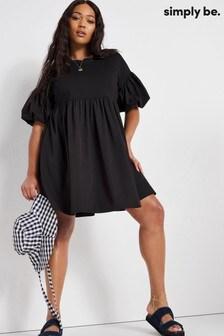 Simply Be Black Cotton Poplin Smock Dress