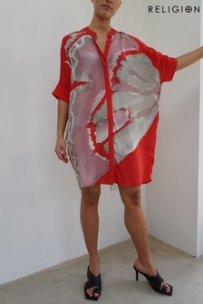 Religion Red Tunic Dress In Bright Abstract Print