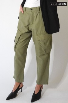 Religion Khaki Soft Cotton Cargo Pants With Pockets