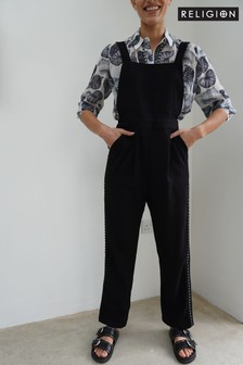 Religion Black Dungaree Jumpsuit With Stud Details And Adjustable Straps