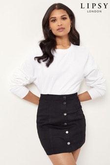 Lipsy Black Denim Mini Skirt