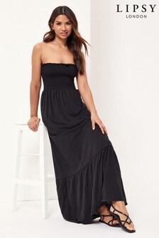 Lipsy Black Bandeau Shirred Maxi Dress