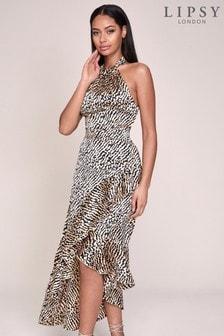 Lipsy Animal Print Regular Halter Ruffle Midi Dress