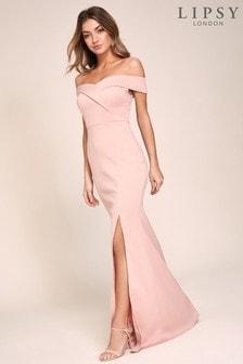 Lipsy Pink Bardot Scuba Maxi Dresss