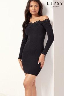 Lipsy Black Lace Trim Bardot Knitted Dress