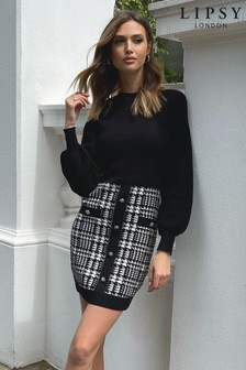 Lipsy Monochrome Mono Boucle 2 in 1 Check Dress