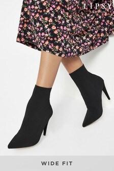 Lipsy Black Wide FIt Block Knit Sock Boot