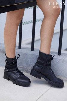 Lipsy Black Gem Strap Biker Boot