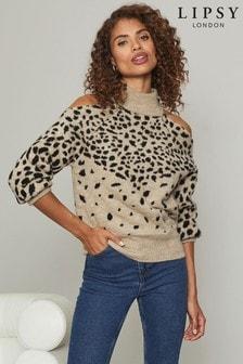 Lipsy Multi Knitted Animal Print Cold Shoulder Jumper
