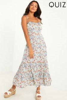 Quiz Blue Floral Strappy Midaxi Dress