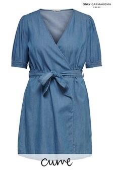 Only Carmakoma Light Blue Denim Curve Wrap Denim Dress