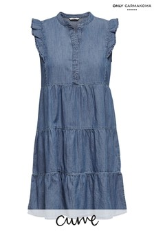 Only Carmakoma Medium Blue Denim Curve Tiered Denim Smock Dress