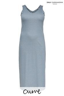 Only Carmakoma Blue Stripe Curve Jersey Maxi Dress