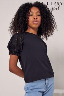 Lipsy Black Broderie Sleeve TShirt