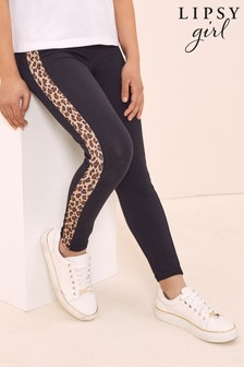 Lipsy Black Leopard Side Panel Legging