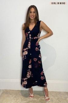 Girl In Mind Navy Floral Print Wide Leg Jumpsuit