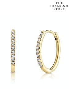 The Diamond Store White Stellato Diamond Encrusted Hoop Earrings 0.09ct in 9K Gold