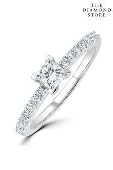 The Diamond Store White Ella Halo Lab Diamond Engagement Ring 0.55ct in 9K White Gold