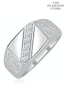 The Diamond Store White Mens Lab Diamond Signet Ring 0.25ct H/Si in Sterling Silver