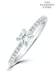 The Diamond Store White Princess Cut Lab Diamond Engagement Ring 0.25ct H/Si in 925 Silver