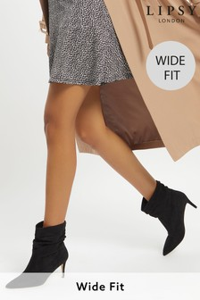 Lipsy Black Wide FIt Heeled Ruched Long Boot