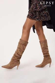 Lipsy Camel/Brown Regular Fit Heeled Ruched Long Boot