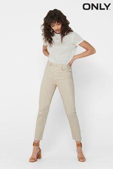Only Cream Regular High Waist Mom Jeans