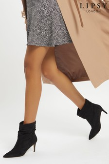 Lipsy Black Regular Fit Heeled Ruched Long Boot
